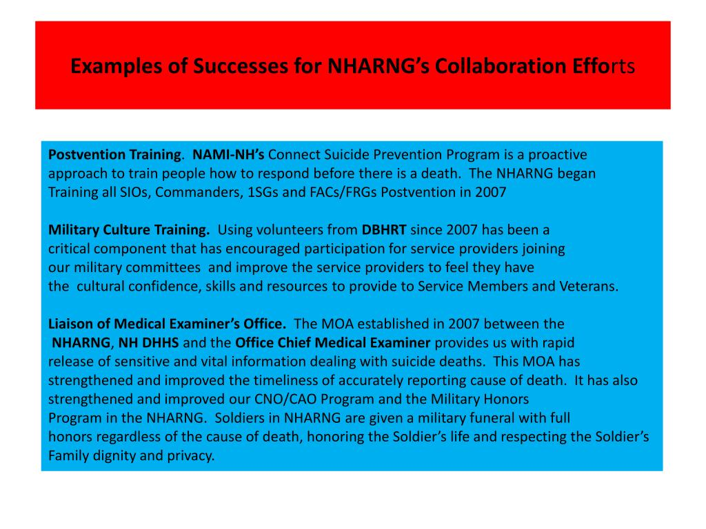 Examples of Successes for NHARNG's Collaboration Effo