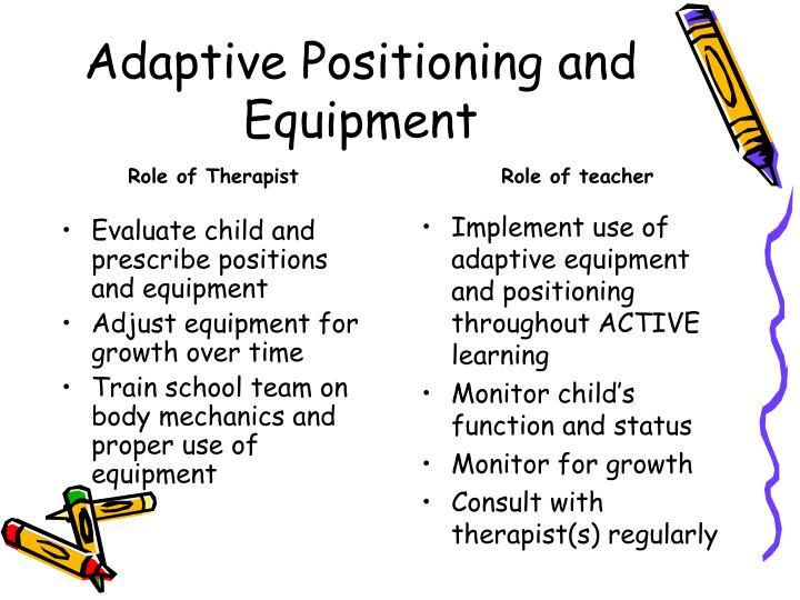 Adaptive positioning and equipment3