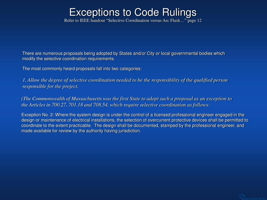 Exceptions to Code Rulings