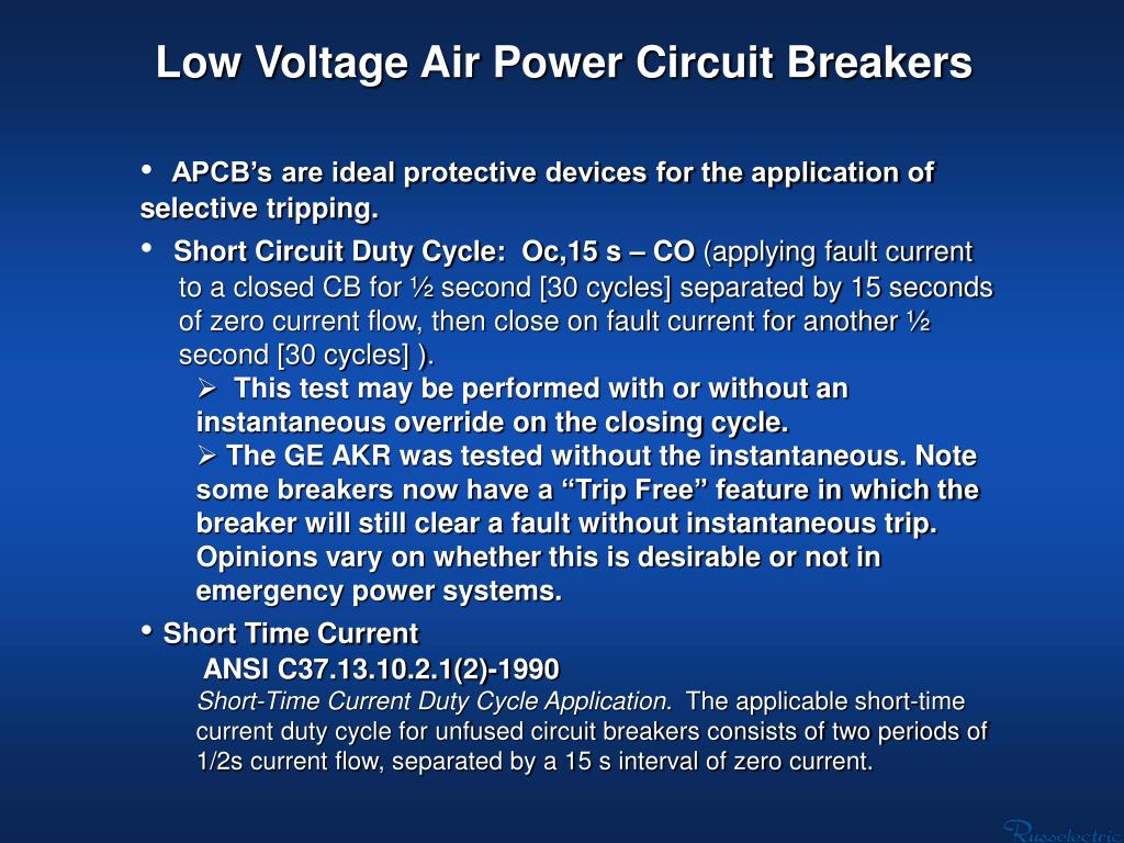 Low Voltage Air Power Circuit Breakers