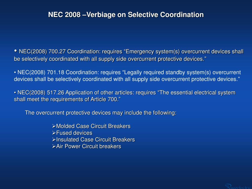 NEC 2008 –Verbiage on Selective Coordination