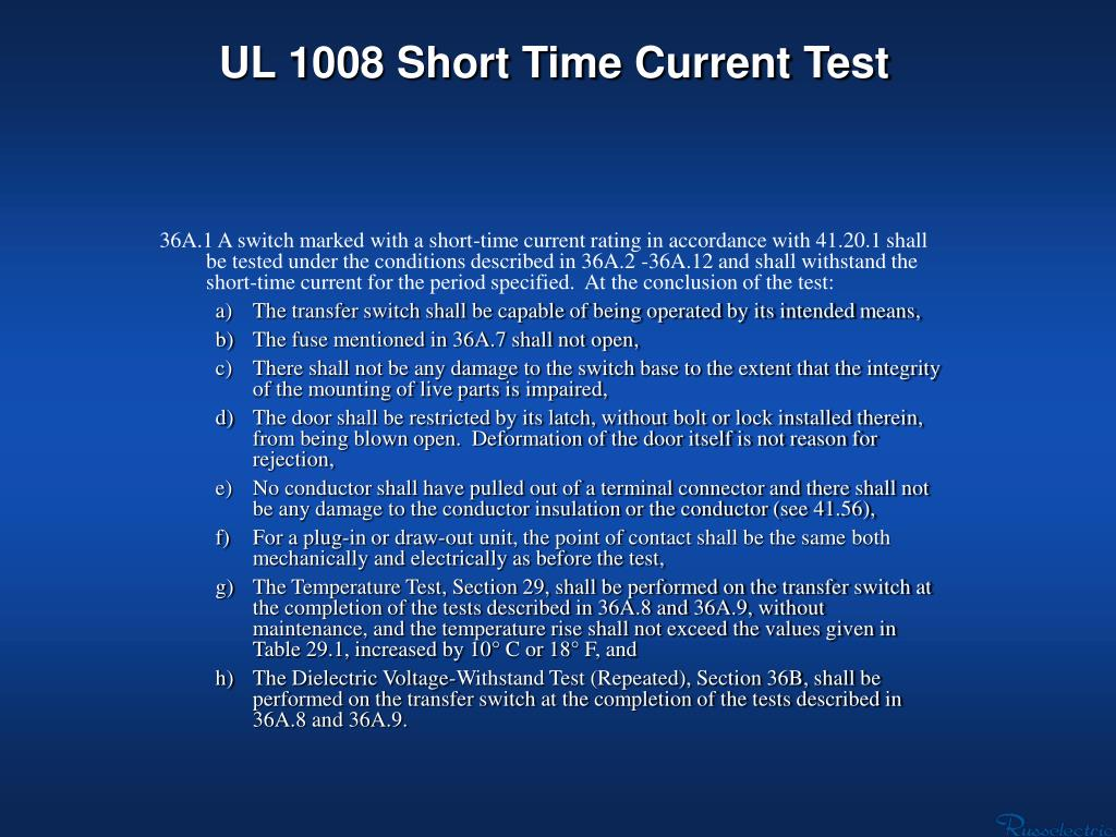 UL 1008 Short Time Current Test