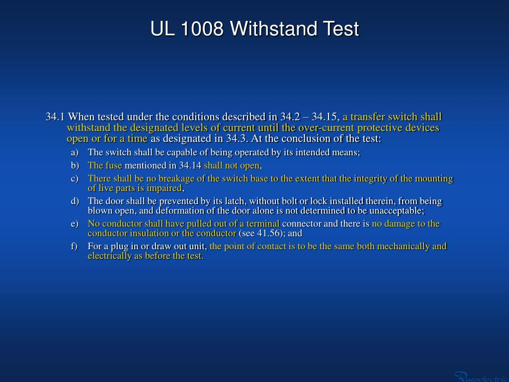 UL 1008 Withstand Test