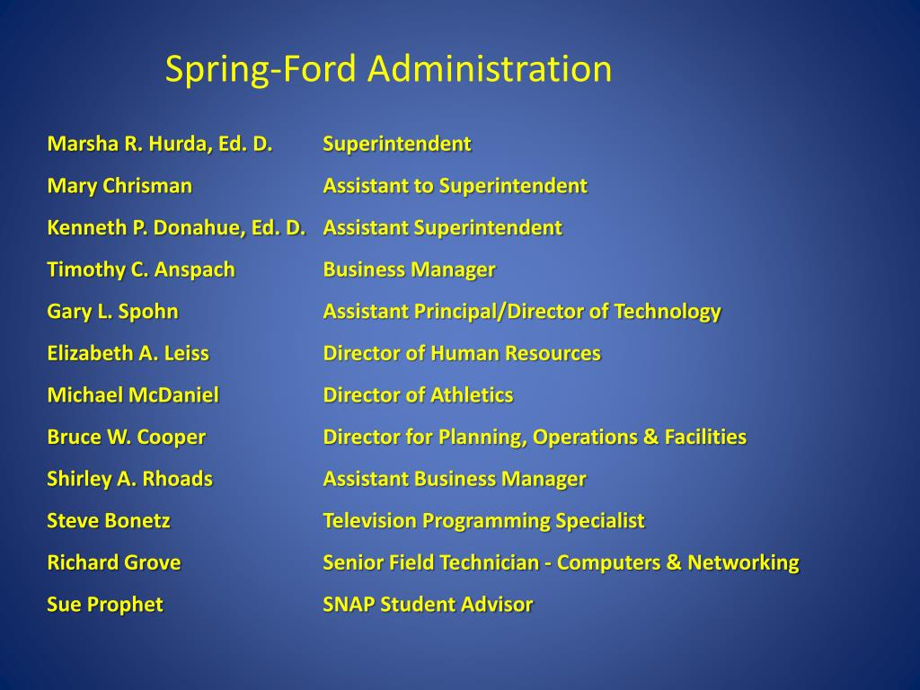 Spring-Ford Administration