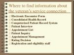 where to find information about the veteran s service connection