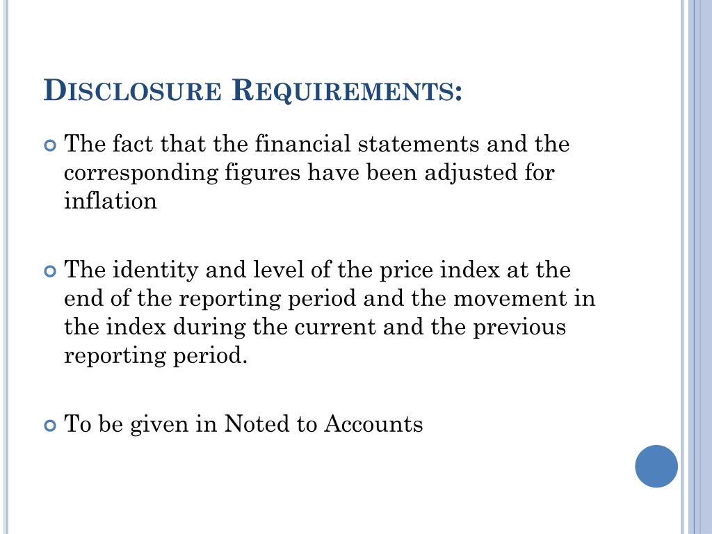 Disclosure Requirements: