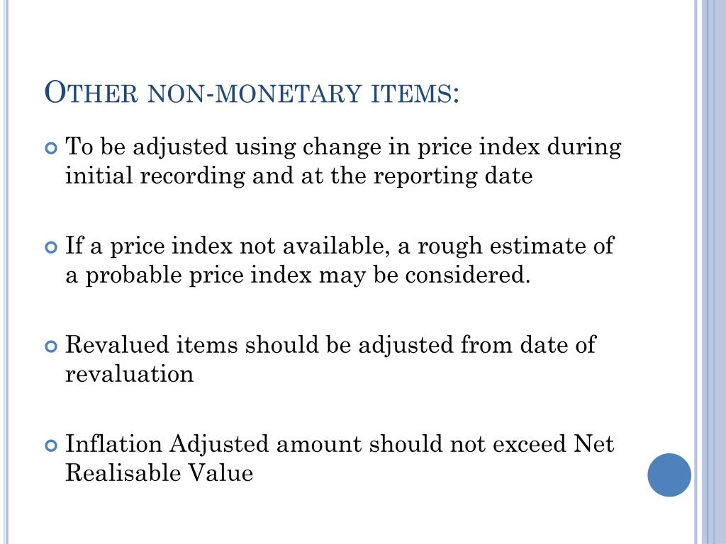 Other non-monetary items: