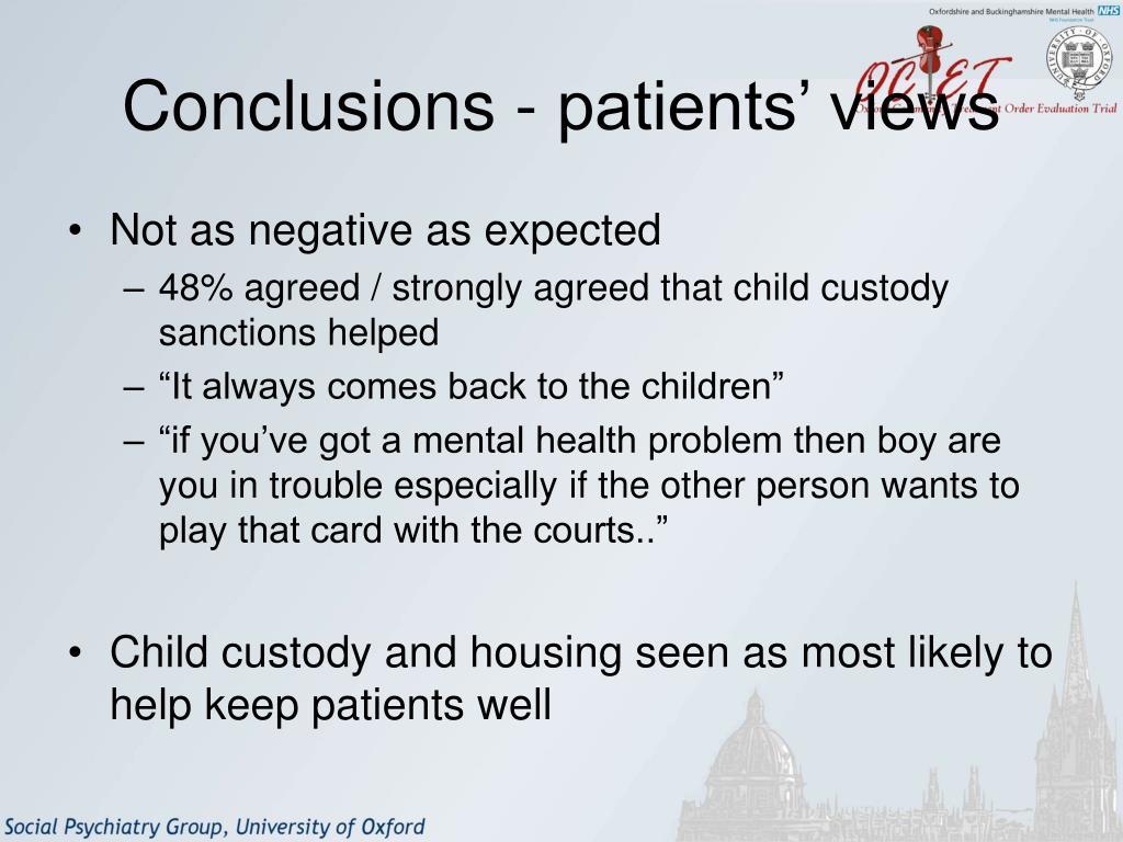 Conclusions - patients' views