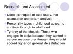 research and assessment