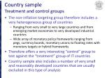 country sample treatment and control groups