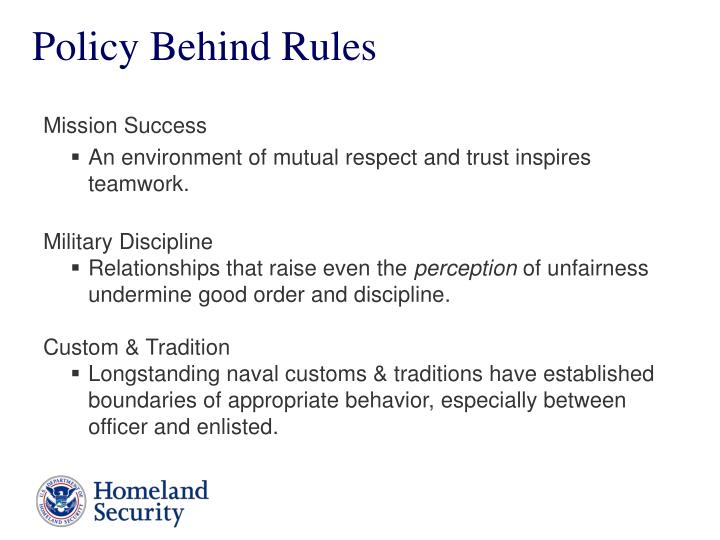 Policy Behind Rules