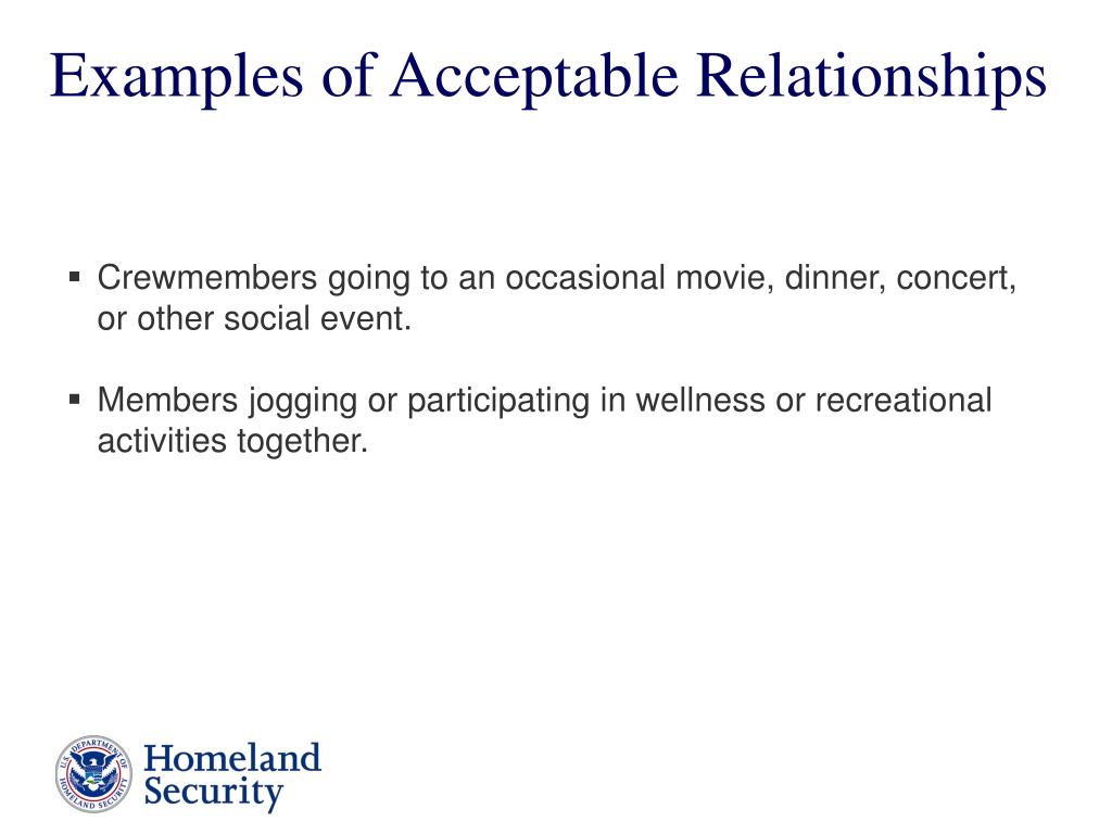 Examples of Acceptable Relationships