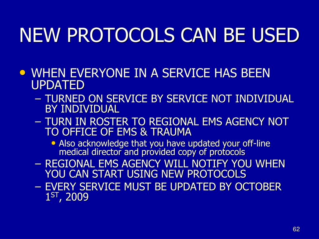 NEW PROTOCOLS CAN BE USED