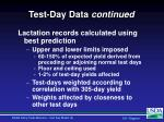 test day data continued