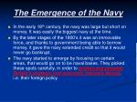 the emergence of the navy