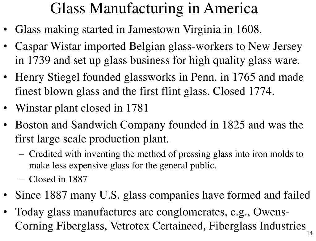 Glass Manufacturing in America