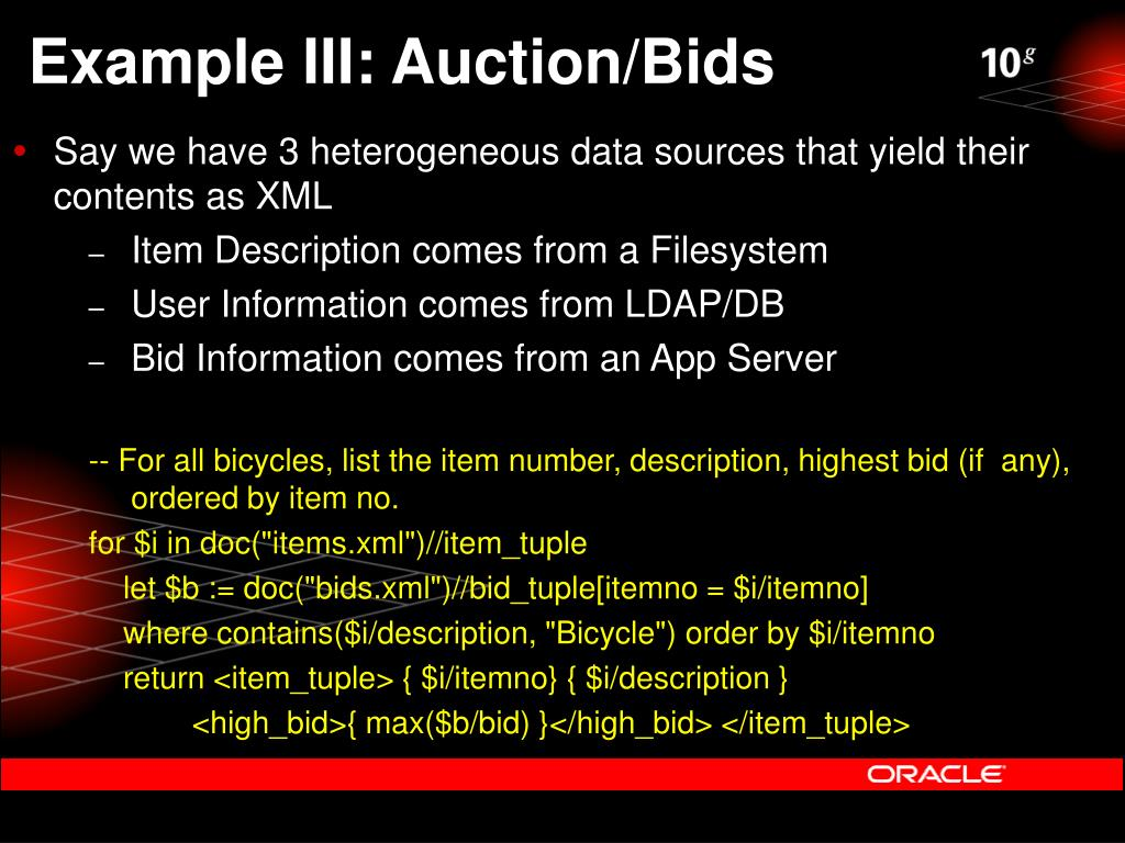 Example III: Auction/Bids