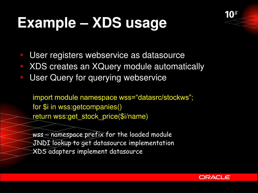 Example – XDS usage