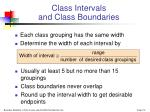 class intervals and class boundaries