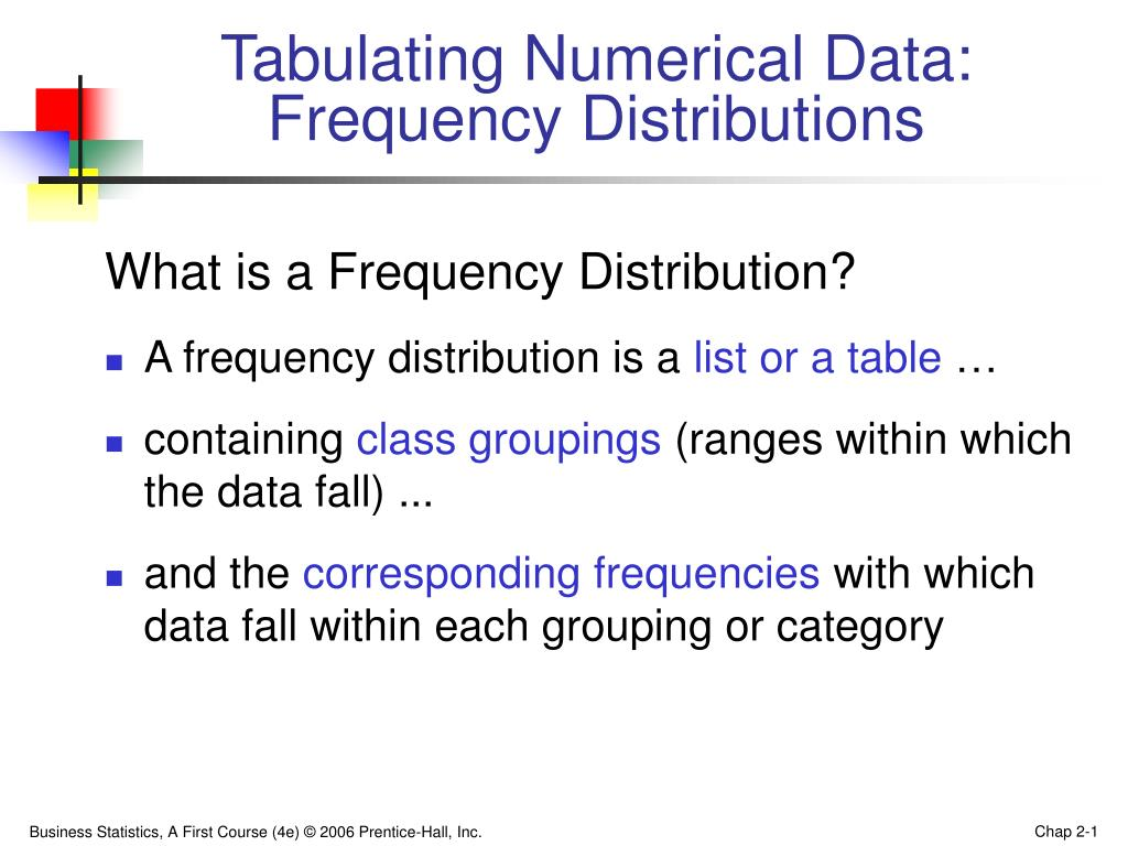 tabulating numerical data frequency distributions l.