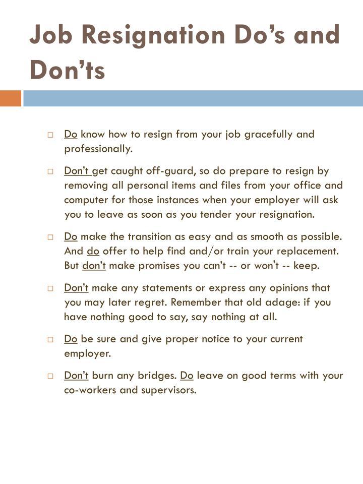 Job resignation do s and don ts