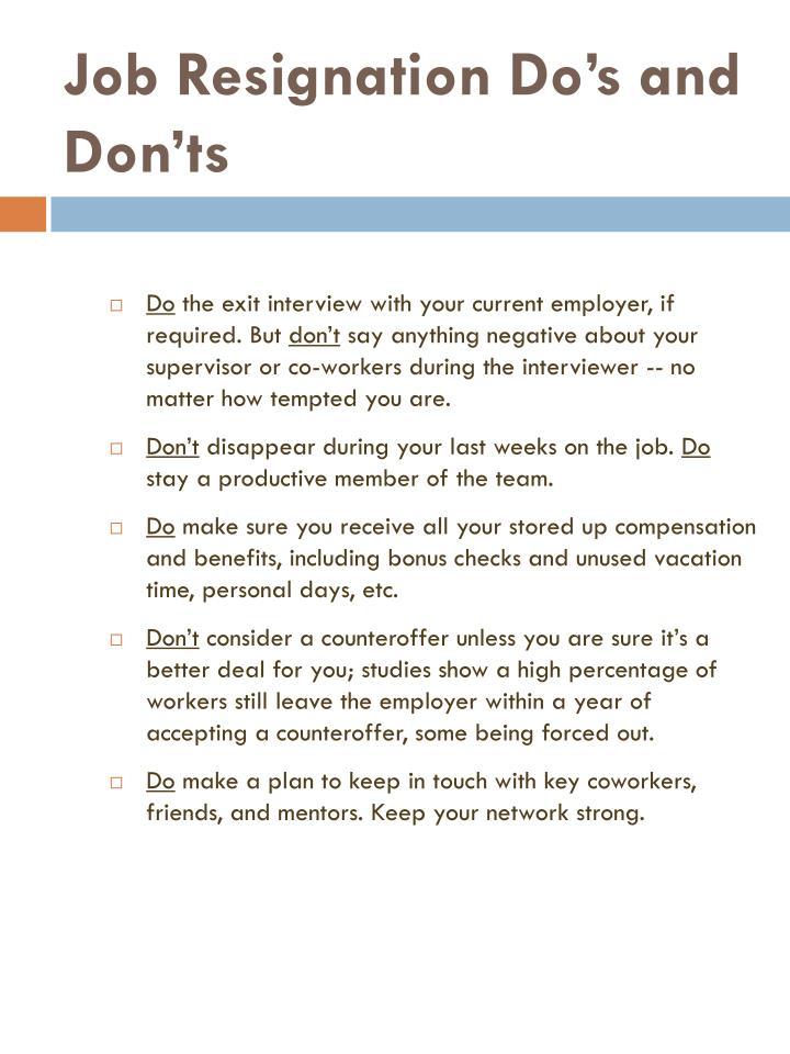 Job resignation do s and don ts3