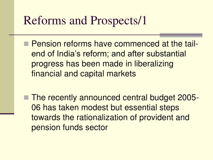 Reforms and Prospects/1