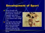 development of sport