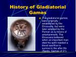 history of gladiatorial games