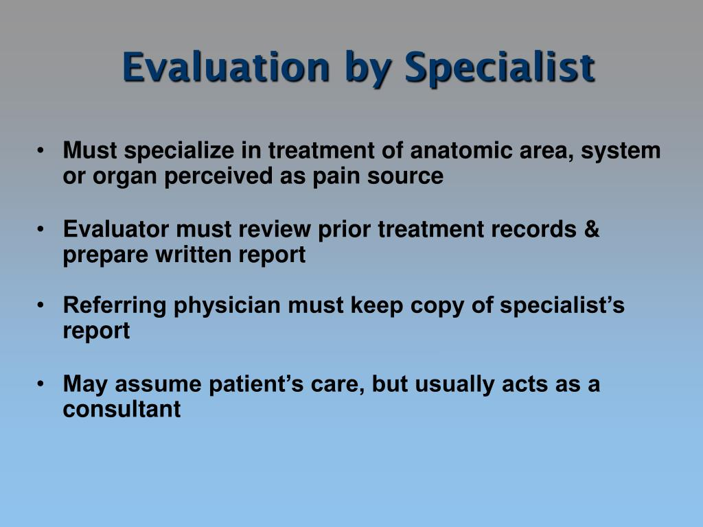 Evaluation by Specialist