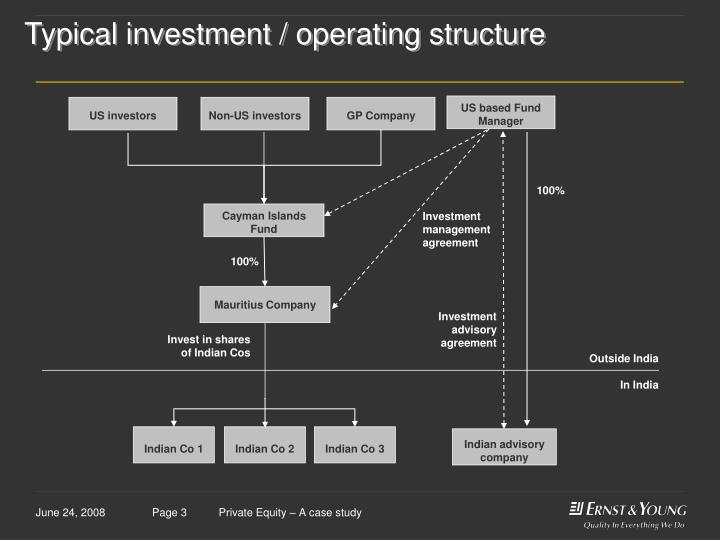 Typical investment operating structure