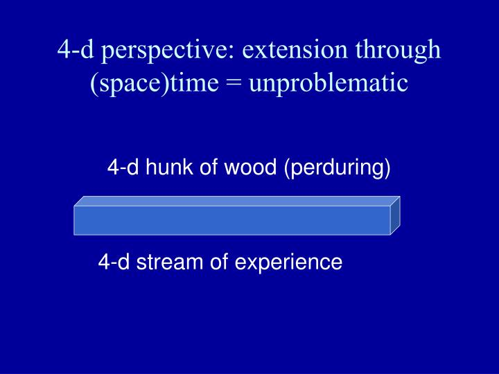4-d perspective: extension through (space)time = unproblematic