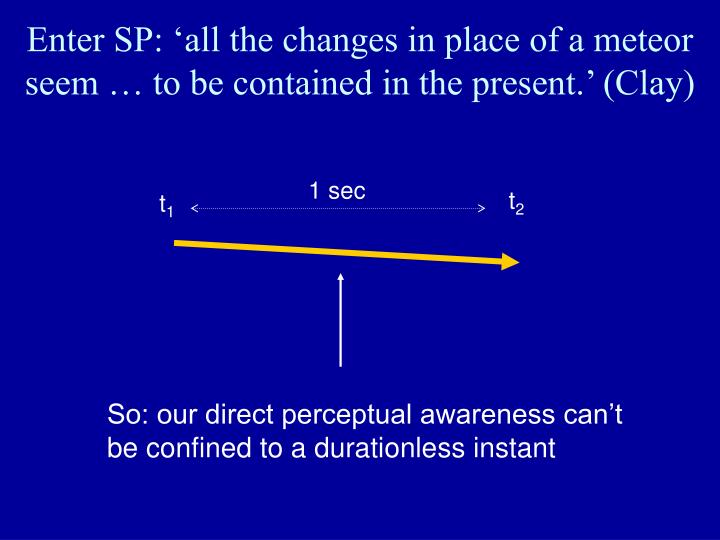 Enter SP: 'all the changes in place of a meteor seem … to be contained in the present.' (Clay)