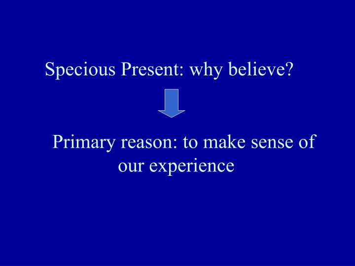 Specious Present: why believe?