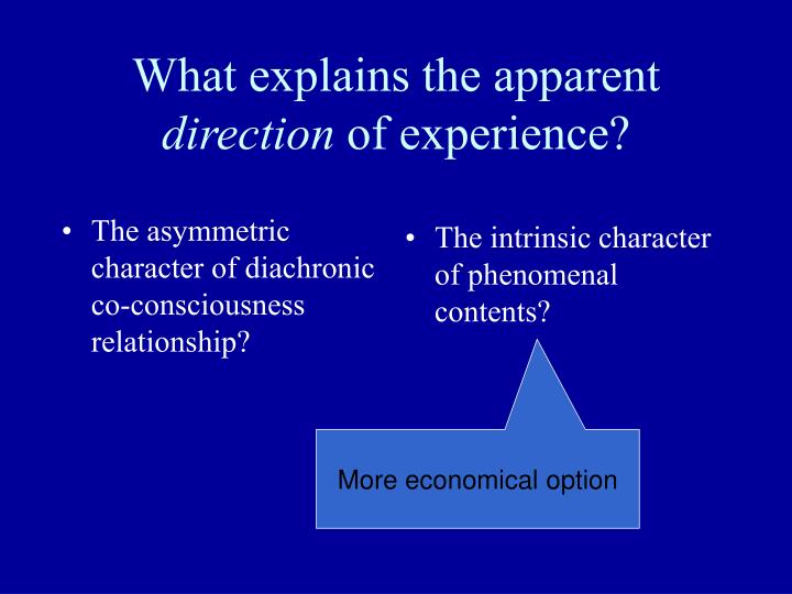The asymmetric character of diachronic co-consciousness relationship?