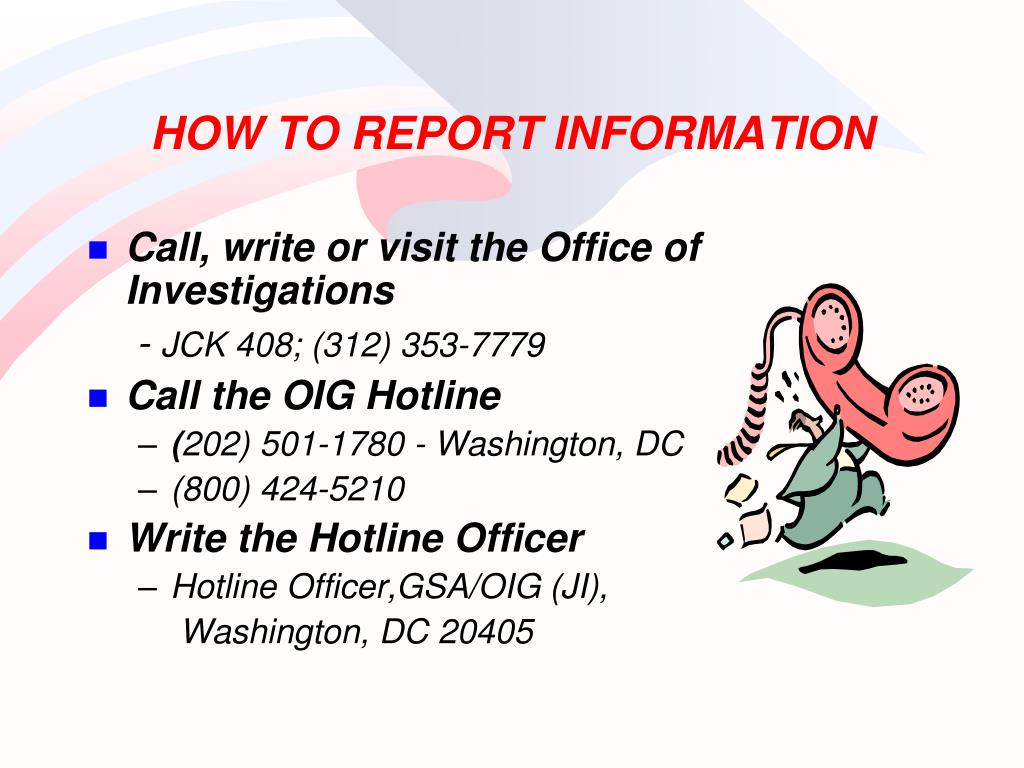 HOW TO REPORT INFORMATION