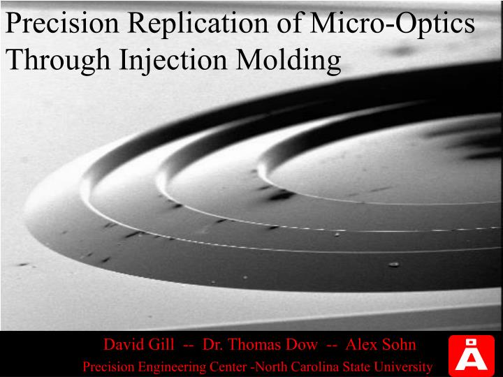 precision replication of micro optics through injection molding n.