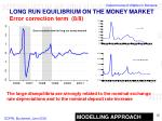 long run equilibrium on the money market error correction term 8 8
