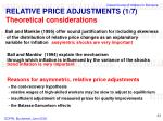 relative price adjustments 1 7 theoretical considerations