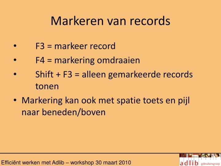 Markeren van records