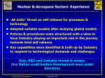nuclear aerospace sectors experience
