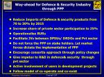 way ahead for defence security industry through ppp