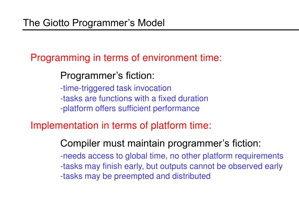 The Giotto Programmer's Model