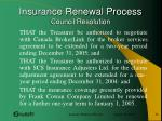insurance renewal process council resolution