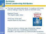 activism good leadership attributes