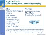 digital activism civic space online community platform