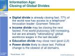 information age closing of global divides