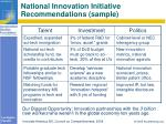 national innovation initiative recommendations sample