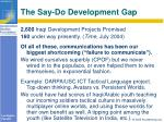 the say do development gap