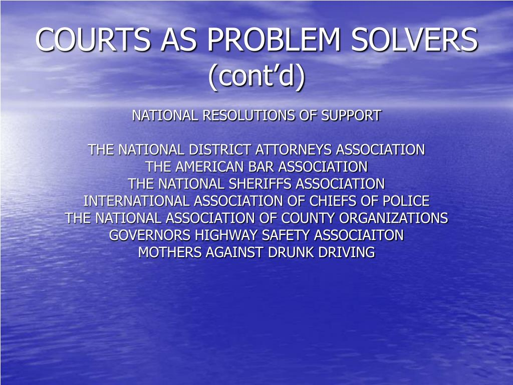 COURTS AS PROBLEM SOLVERS